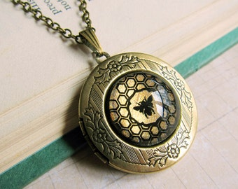 Prism Collection - Honey In The Comb - Petite Bee Locket in Antique Brass