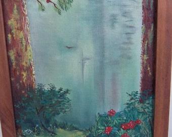 "Redwood Path"" oil painting by S. Herrmann FRAMED"