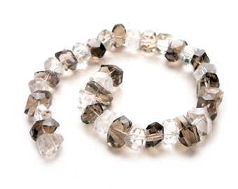 Smoky and Crystal Quartz Mix Large Faceted Nugget Beads - 10 x 15mm to 10 x 20mm - 14 inch strand