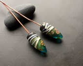 Handmade lampwork glass headpin earring pair by Lori Lochner Teal, black and bone drop artisan jewelry making supply