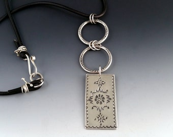 Hand Stamped Sterling Silver Dangle on Leather Necklace