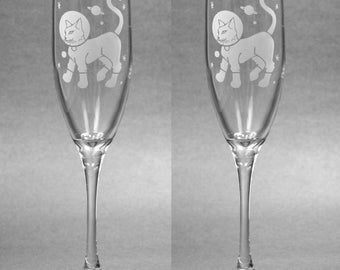 2 Astro Cat Champagne Flutes - etched champagne glass - Set of 2