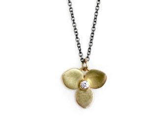 Diamond Flower Necklace - Recycled Gold Necklace - Eco-Friendly Jewelry