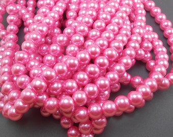 50 Bright Pink Glass Pearl Beads 8mm round (H2167)