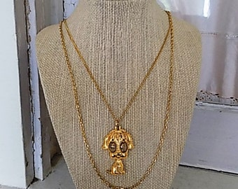 FREE SHIPPING Vintage Puppy Dog Layered Chain Necklace with Rhinestone Eye Accents
