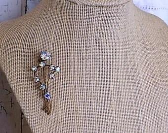 FREE SHIPPING Vintage Austrian Crystal Rhinestone Brooch Pin