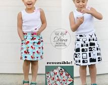 Girls Skirt Pattern PDF - Reversible A Line Skirt Sewing Pattern - baby to teen