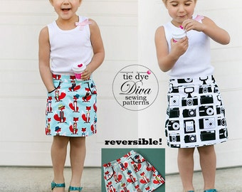 Girls Skirt Pattern PDF - Reversible A Line Skirt Sewing Pattern - baby to teen