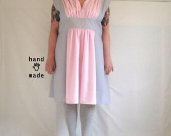 Favorite Dress -- stripes -- plus size 26, xxxl -- fit and flare, vintage cotton seersucker & poplin stripe -- 58B-49highW-70+H