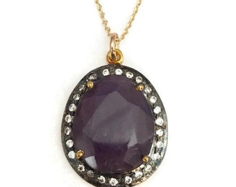 Amethyst gemstone necklace with pave white topaz bezel, Perfect gift for her!