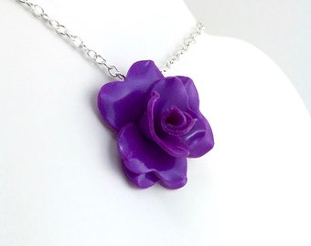 Bright Purple Rose Pendant - Simple Rose Necklace - Purple Rose Necklace  - Bridesmaid, Wedding Jewelry - Polymer Clay - MADE to ORDER
