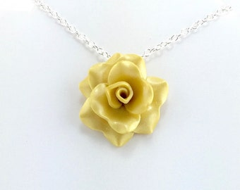 Yellow rose pendant polymer clay rose necklace botanical light golden yellow rose pendant simple rose necklace yellow rose necklace bridesmaid mozeypictures Images