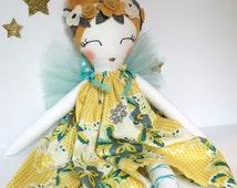 FAIRY PRINCESS Doll, Cloth Doll, Handmade Doll- Heirloom, Rag Doll, Tulle Fairy Wings, Girl gift, Handmade Nursery