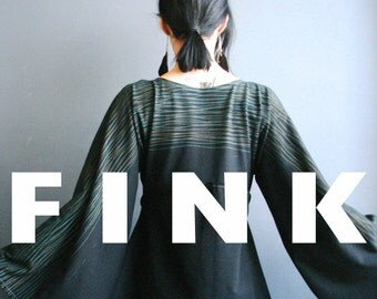 High Hawk Season - iheartfink Handmade Hand Printed Womens Kimono Bell Sleeves Wearable Art Black Jersey Top