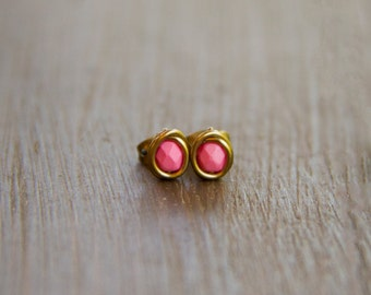 Itty Bitty Bubble Gum Pink Faceted Stud Earrings - Wire Wrapped Antiqued Brass Earrings