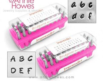 Metal Stamp Set. Impressart Alphabet Stamp Set - 3mm metal stamps - Bridgette Uppercase or Lowercase Set