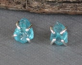Raw Apatite Studs, Apatite Studs, Sterling Silver Apatite Post Earrings, Blue Studs