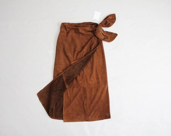 supple suede wrap skirt   vintage leather skirt   high waist leather skirt