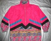 Fera Ski Jacket - Vintage 80's - Ladies Size 12 Large - Pink Blue Snowflake Print Oversized Fit Winter Snow Coat