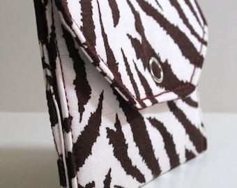 Card Pocket - Brown & White Zebra Print - Business Cards - Holder - Wallet - Gift - Holiday - Christmas