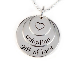 Adoption Necklace Sterling Silver Gift of Love Layered Hand Stamped