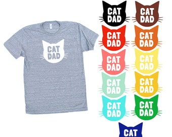 Cat Dad TriBlend Heather Grey TShirt - Family Photos, Gift for Dad, Gift for Him, Cat Guy, Cat Person, Cat Lady