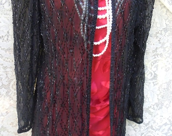 Black beaded jacket  vintage flapper bohemian  goth small  by vintage opulence on Etsy