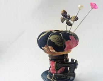 "Bobbin Pincushion Ornament, Sewing Accessory ""Black Roses"""