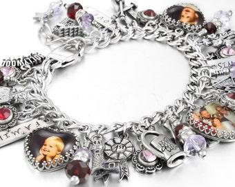 Personalized Mothers Jewelry, Engraved Mothers Bracelet, Personalized Grandchildren Photos, Mothers Charm Bracelet