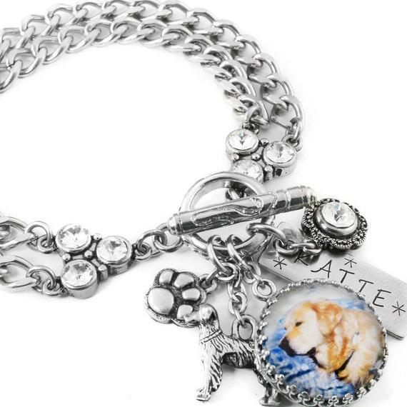 Design Your Own Custom Bangle Charm Bracelet Pick Your Charms: Personalized Dog Jewelry Dog Charm Bracelet By
