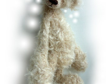 mohair fabric for artist bears and bear making supplies -1/4m Oatmeal ratinee mohair