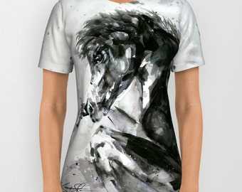 """Horse Shirt, Ladies, Mens, Beautiful Unisex, Black Horse Painting art of Original abstract """"Beauty"""" by Kathy Morton Stanion  EBSQ"""