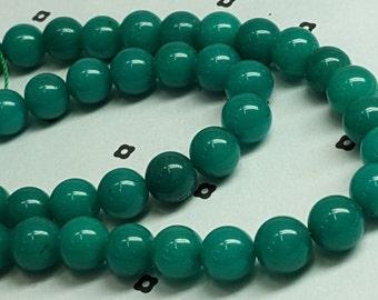 10mm Green Dyed White Natural Jade Full strand