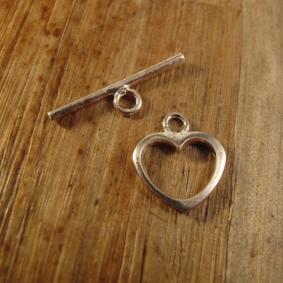 Silver Heart Toggle Clasp, Large Sterling Silver 15mm Clasp, Jewelry Supplies, .925 Sterling Silver Findings (F-6219s)