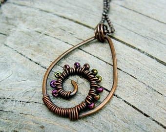 Purple Wave - hammered copper and iris purple seed bead wire wrapped necklace