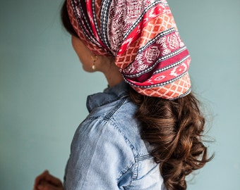 Mini Aztec Long Stretch Cowl Garlands of Grace | headcovering hair scarf headwrap
