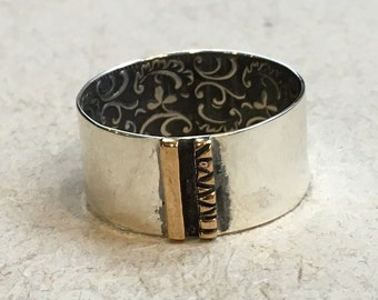 Silver gold matching bands, botanical band, wide ring, Men's and Women's band, woodland band, unisex band, floral band - Voyage  R2366