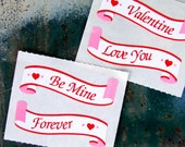 Valentine's Day Stickers, Vintage Banner Heart Stickers, Be Mine, Valentine, Love You Forever, DIY Card Making, Scrapbook Scroll Stickers