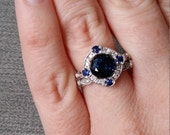 "Estate Halo Blue Sapphire Diamond Antique Engagement Ring Victorian Art Deco Edwardian 14K White Gold ""The Charlotte"""