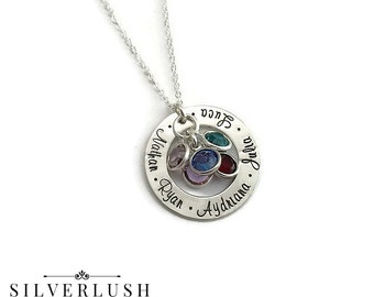Sterling Silver Mommy Jewelry with Five Names & Birthstones