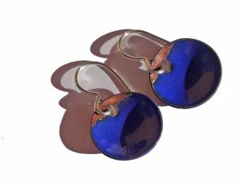 Handmade Enamel Copper Earrings, Enamel on Copper Earrings, Enamelled Copper Dot Earrings, Circle, Round, Simple, Rustic, Bright Blue (114)