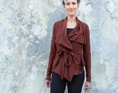 STRETCHY Belted Cocoon Cropped Jacket - ( Stretchy organic cotton knit with lycra ) - organic jacket