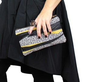 Gray Black Yellow Cheetah & Zebra Leather and Canvas Zipper Clutch