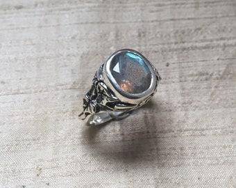 The Ivy Ring in Faceted Labradorite and Sterling