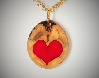 Red Heart and Walnut Pendant and a Gold Chain Necklace with a choice of 2 sizes Love in a Nutshell #1 A gift of Nature
