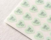 96 Light Mint Green Thank You Stickers, Heart Stickers, Envelope Seals, Wedding Seals, Mint Green Stickers