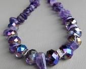 February birthstone amethyst PURPLE STARS handmade beaded necklace