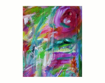 Abstract Print Pantone Greenery Lavender Vibrant and Energetic Gallery-Quality Limited Edition Epson Premium Photo Paper Free US Shipping