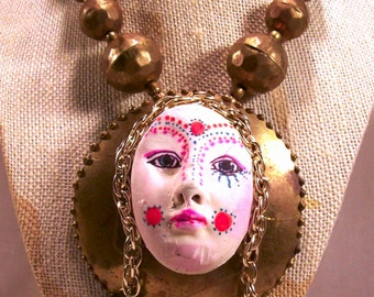 Sale Vintage Brass Trash Glam Upcycled Art Necklace Mixed Media Found Objects Original Rare Hand Painted Face Novelty OOAK Free Shipping