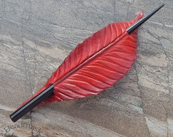 Leather Hair Stick Barrette, Red Leaf or Feather with Black Wood Stick, Hairstick, Hair Slide or Shawl Pin - Medium